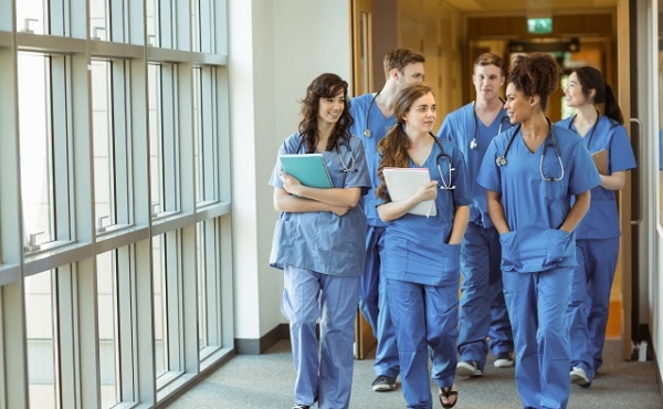 doctors walking down corridor