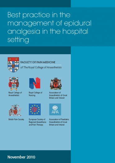 Cover image of guidance - best practice in the management of epidural analgesia