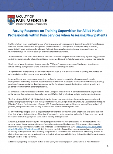 Cover image for Faculty response on training supervision for allied health
