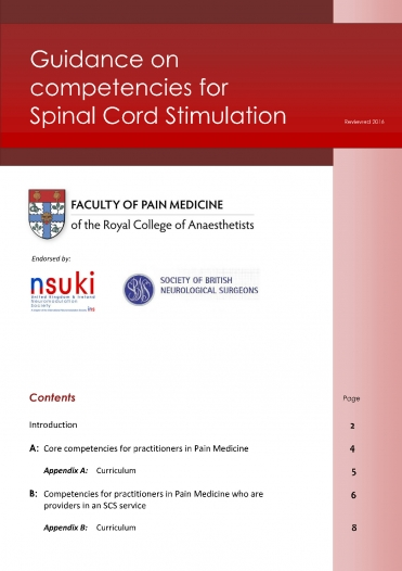 Cover image of guidance for competencies for spinal cord stimulation
