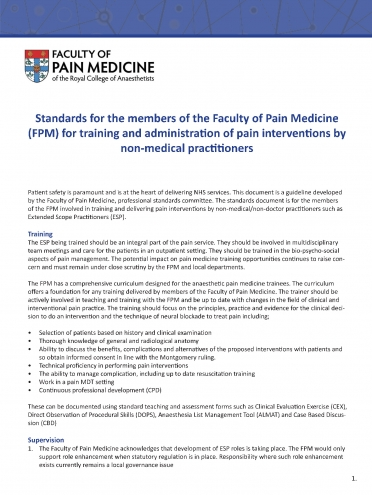 Cover image of Standards for members of the Faculty of Pain Medicine for training and administration of pain interventions by non-medical practitioners