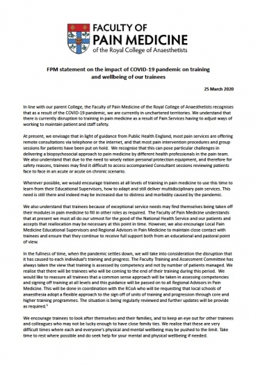 Cover image for FPM COVID-19 training statement